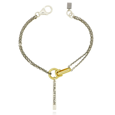gold and silver chain and pendant bracelet
