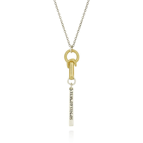 Gold & Silver Articulated Hope Pendant Necklace - IndependentBoutique.com