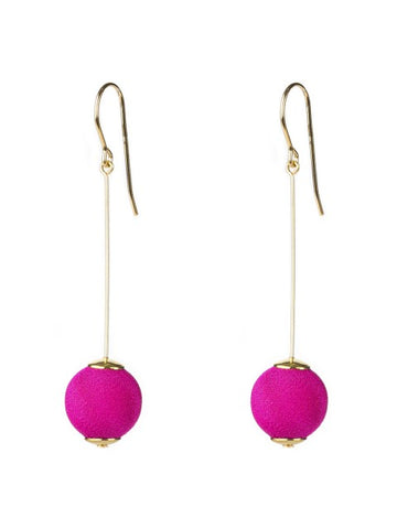 Hot Pink Gold Pin Ball Earrings