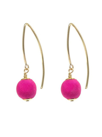 Hot Pink Silk Gold Marquise Earrings