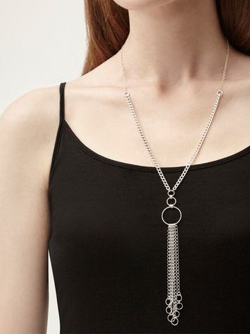 Izzie Silver Circles & Fringe Necklace - IndependentBoutique.com