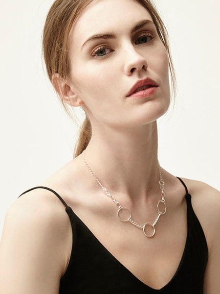 Jemima Silver Circles Necklace - IndependentBoutique.com