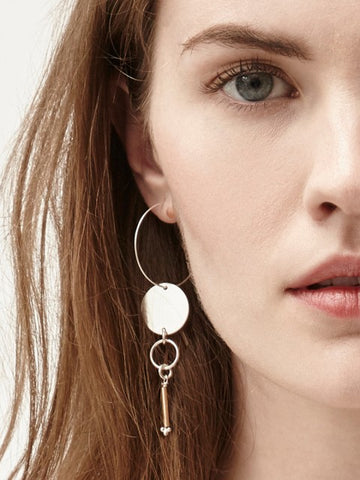 Joslyn Hoop Drop Silver & Gold Earrings - IndependentBoutique.com