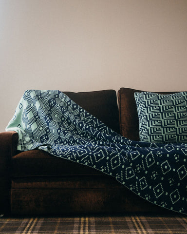 Blue Fairisle Lambswool Kinshy Blanket - IndependentBoutique.com