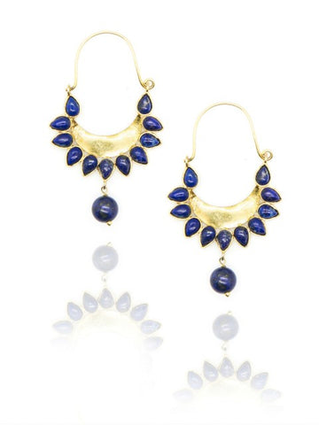 Lapis Lazuli Gold Plated drop Earrings - IndependentBoutique.com