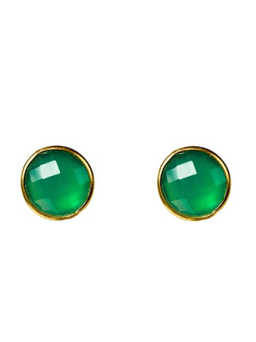 Green Onyx Circle Stud Earring - Medium