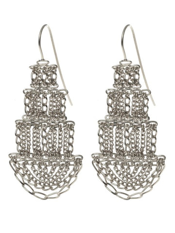 Large Silver Pagoda Earrings