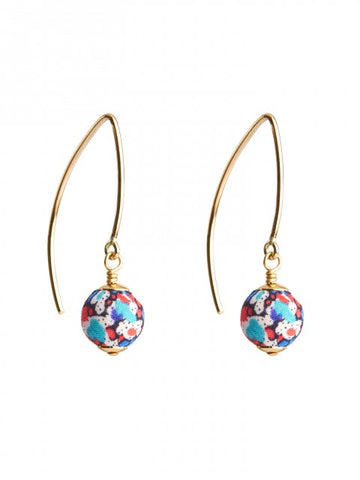 Liberty Pepper Print Gold Marquise Earrings