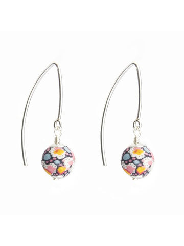 Liberty Pepper Print Silver Marquise Earrings