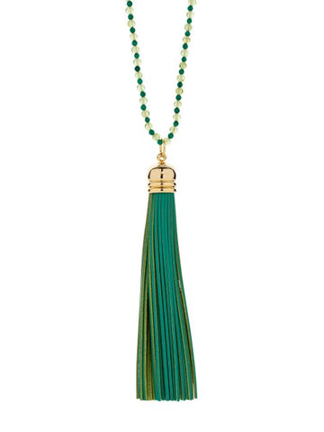 Lime Green Tassel Necklace - IndependentBoutique.com