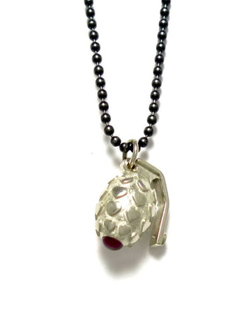 Silver Love Bomb Pendant Necklace - IndependentBoutique.com