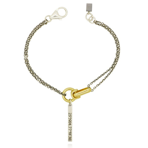 gold and silver pendant statement bracelet