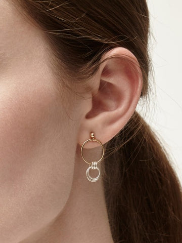 Lucy Gold & Silver Circle Stud Earrings - IndependentBoutique.com