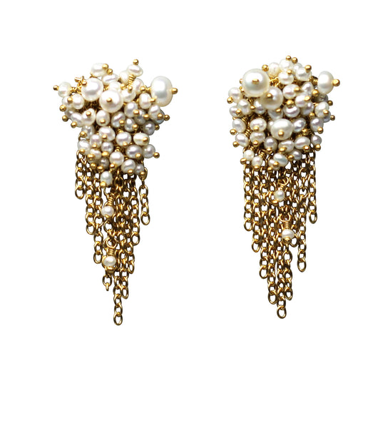 Pearl & Gold Vermeil Tassel Stud Earrings - IndependentBoutique.com