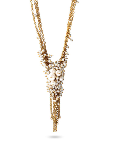 The Pearl & Gold 'V' Tassel Necklace