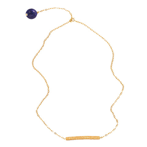 Lapis Lazuli Bar Gold Plated Necklace - IndependentBoutique.com