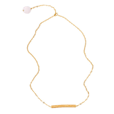 Rose Quartz Bar Gold Plated Necklace