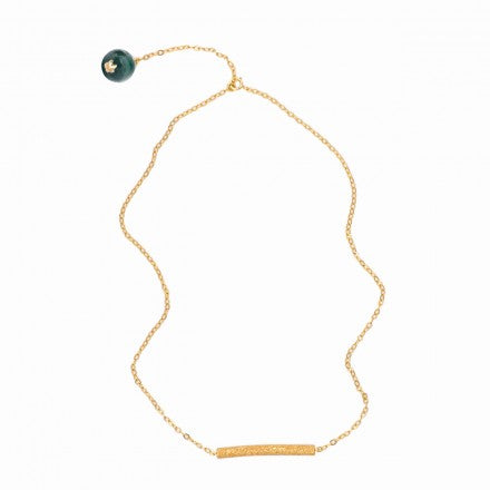 Malachite Bar Gold Plated Necklace