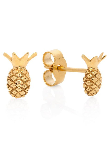 Miami Pineapple Stud earrings - Gold vermeil - IndependentBoutique.com