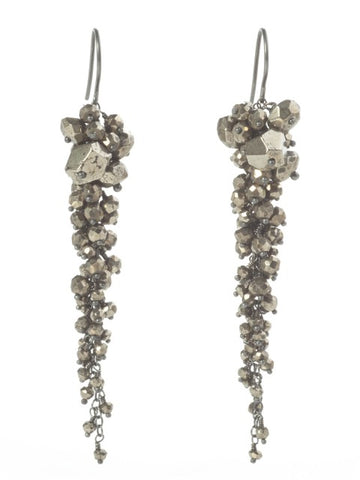 Pyrite Long Cascade Earrings - IndependentBoutique.com