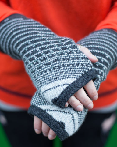 Woolly Dark Grey and White Fairisle Handwarmers - IndependentBoutique.com
