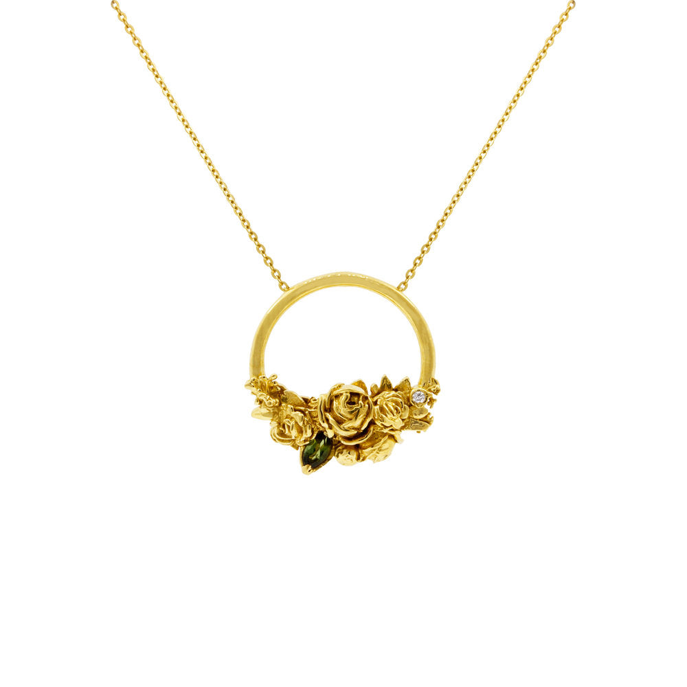 Yellow Gold Rose Halo Diamond & Tourmaline Necklace - IndependentBoutique.com