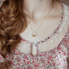 Rose Gold Halo Diamond & Tourmaline Necklace - IndependentBoutique.com