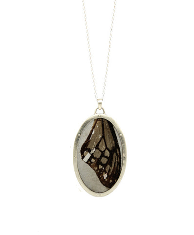 Medium Oval Pendant - Silver & Stainless Steel