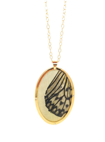 Butterfly Oval Pendant - Gold