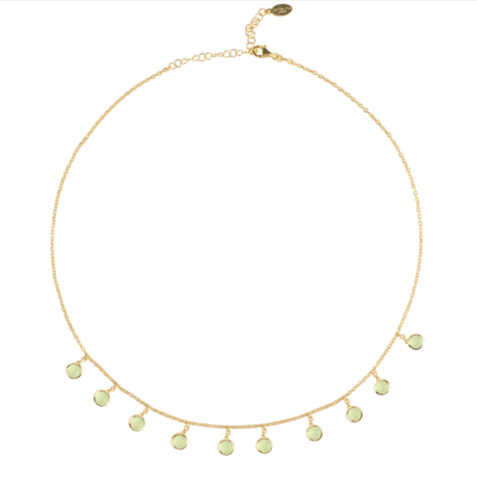 Gold & Aqua Round Gem Necklace