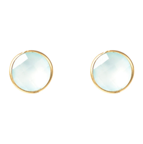 Gold & Aqua Chalcedony Medium Circle Stud Earrings