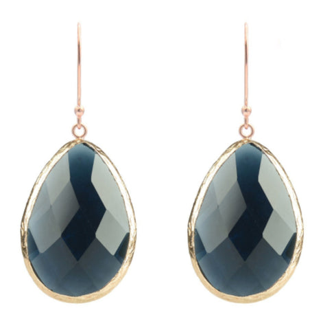 Sapphire Hydro & Rose Gold Single Drop Earrings