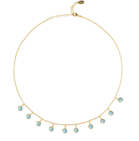 Gold & Blue Topaz Gem Necklace