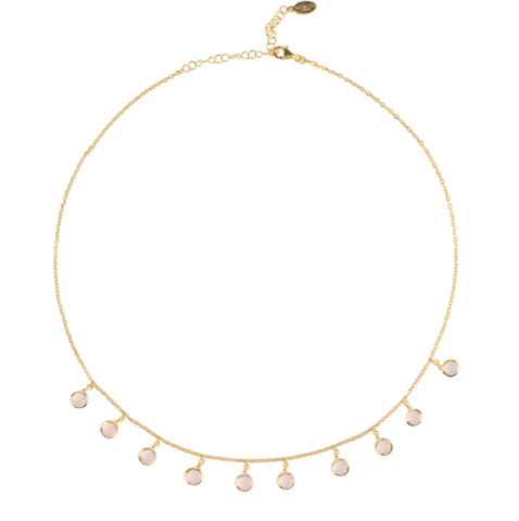 Gold & Rose Gem Necklace