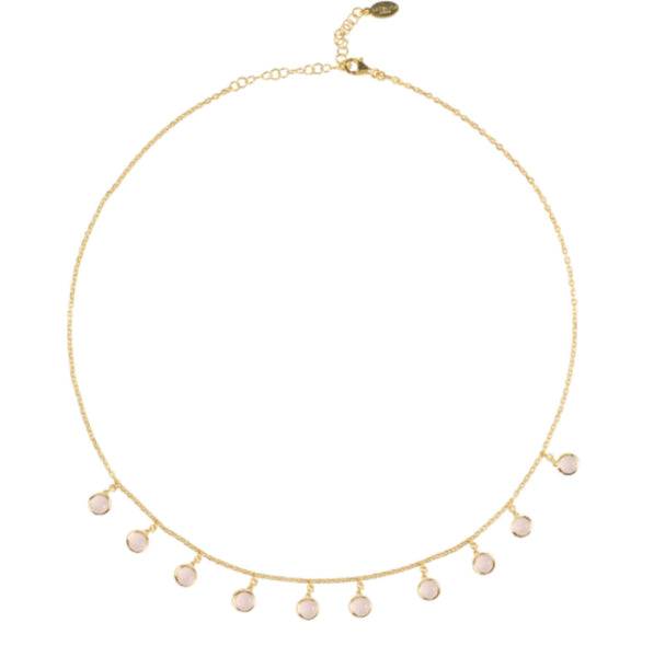 Gold & Rose Gem Necklace - IndependentBoutique.com