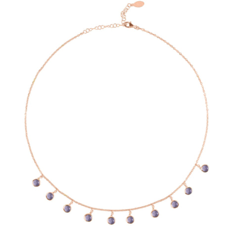 Amethyst & Rose Gold Necklace - IndependentBoutique.com