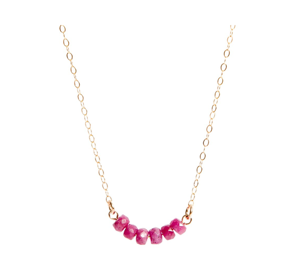 Pink African Ruby Bar Gold Necklace - IndependentBoutique.com