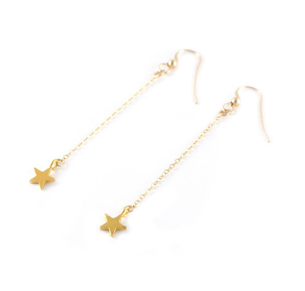 Tiny Star Drop Gold Earrings