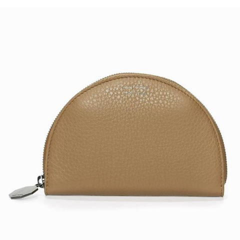 half moon wallet light tan