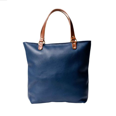 leather blue shopping bag