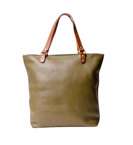 olive green leather shopper