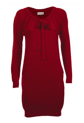 Red Cashmere Bow Dress