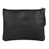 BLACK LEATHER FLAT MAKEUP POUCH