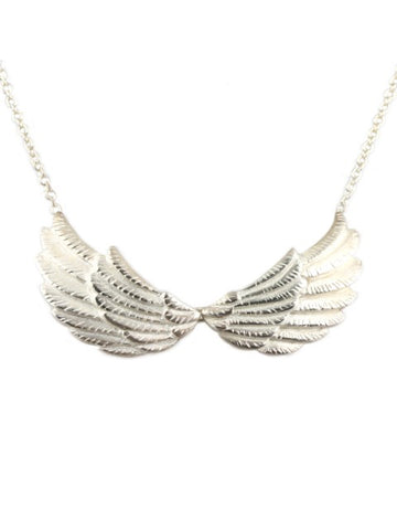 Silver Double Wing Necklace - IndependentBoutique.com
