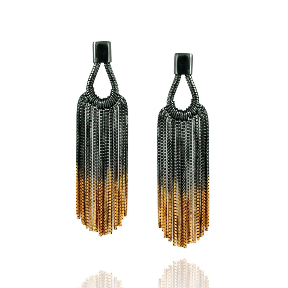 oxidised silver dangly teardrop chain earrings with gold ends