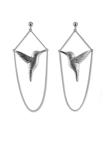 Silver Hummingbird Drop Earrings