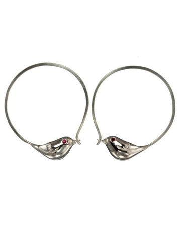 Silver Sparrow Hoop Earrings