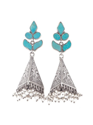 Silver earrings with turquoise petals - IndependentBoutique.com