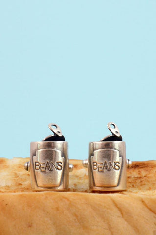Silver Baked Beans Cufflinks by Bug | IndependentBoutique.com