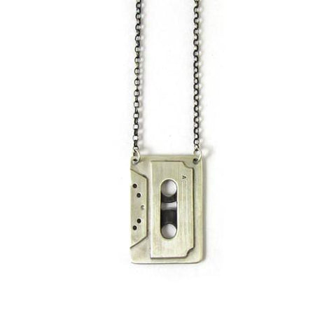 Silver Cassette Necklace - IndependentBoutique.com